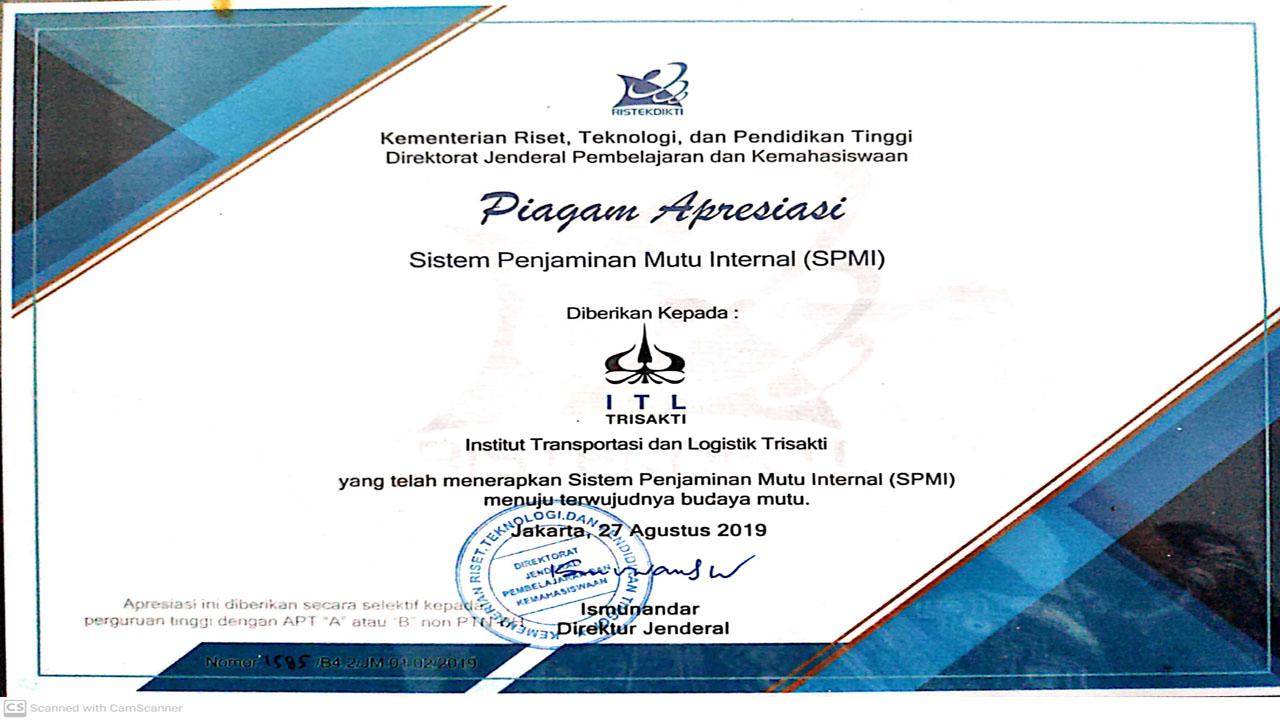 Sertifikat Apresiasi PPMI ITL Trisakti